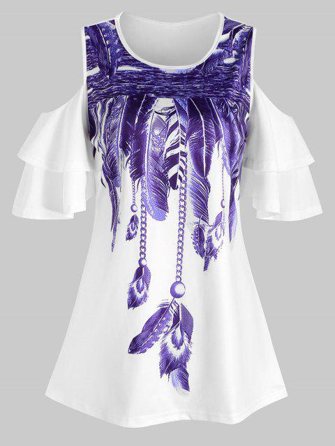 Tiered Sleeves Feather Print Cold Shoulder Tee - WHITE 3XL