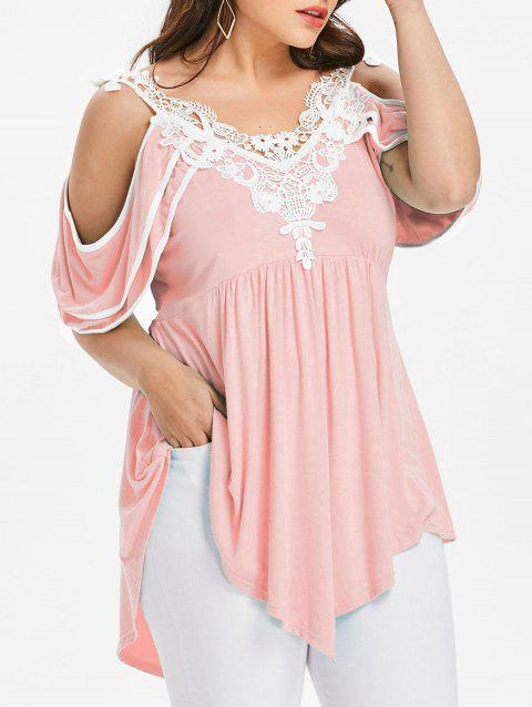 Plus Size Tiered Cold Shoulder T-shirt - LIGHT PINK 2X