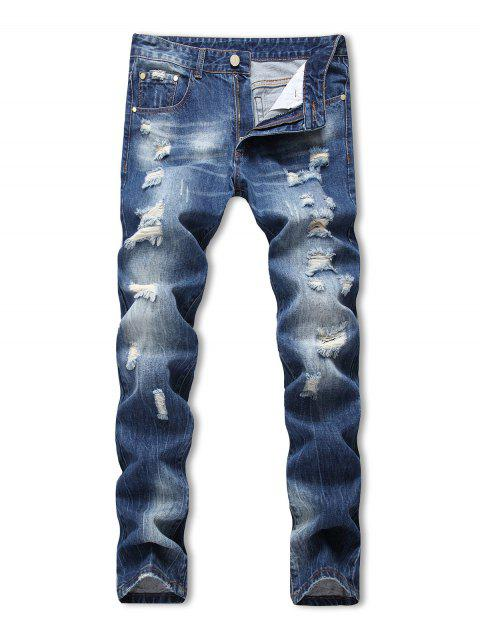 Zipper Fly Ripped Decoration Jeans - DENIM BLUE 36