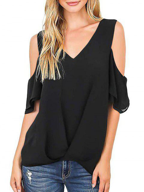 V Neck Cold Shoulder Cutout Blouse - BLACK L