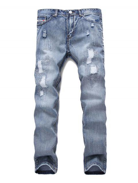 Ripped Decoration Zip Fly Jeans - JEANS BLUE 42