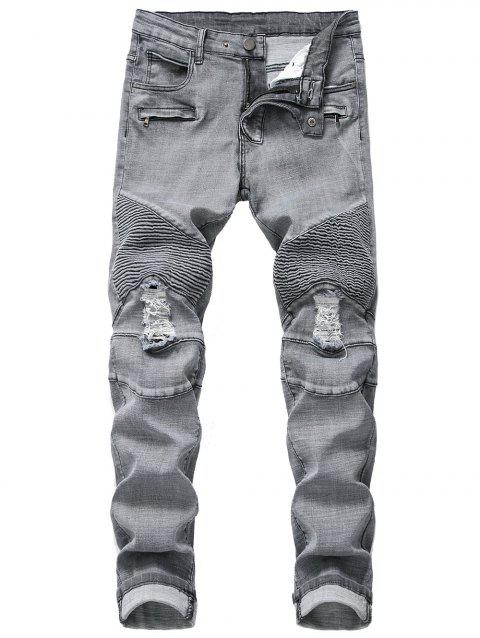 Ruffle Ripped Decoration Casual Jeans - BLUE GRAY 34