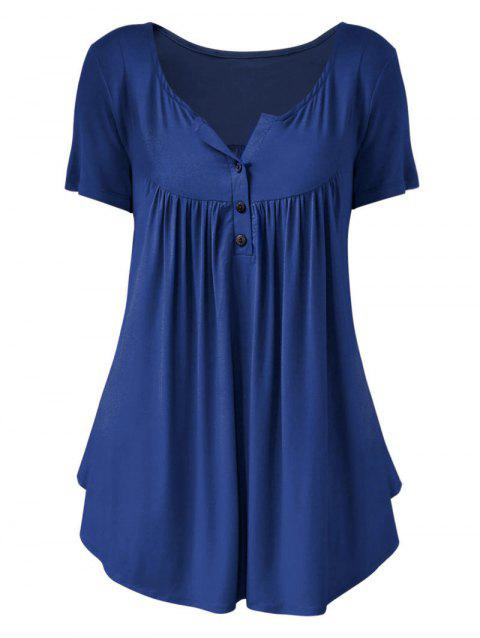 Plus Size Solid Color Ruched Half Button T Shirt - BLUE 3X