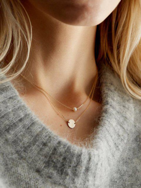 Layered Artificial Pearl Disc Chain Necklace - GOLD 42+46+7