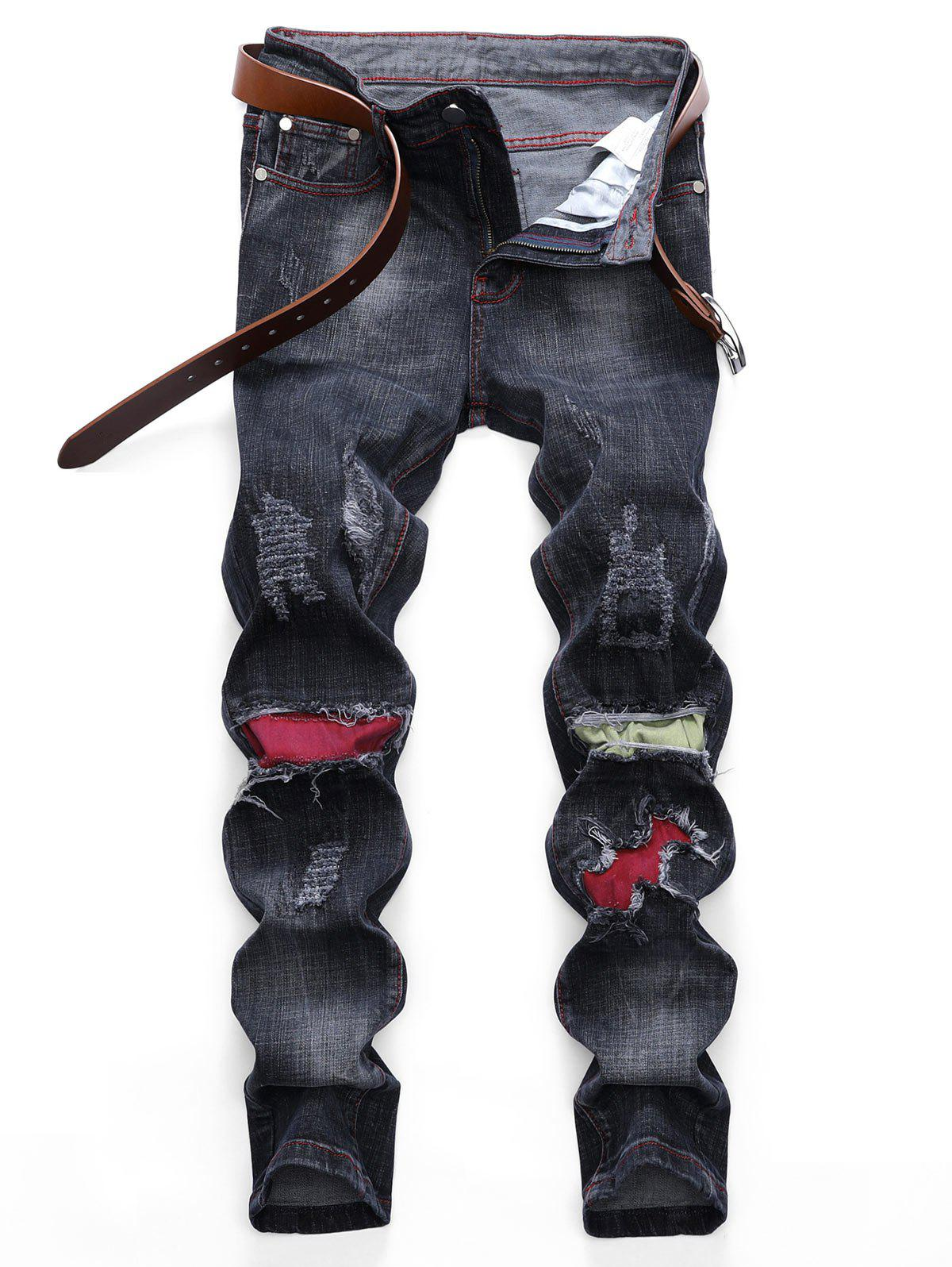 Colored Patchwork Ripped Scratch Long Jeans - BLACK 32