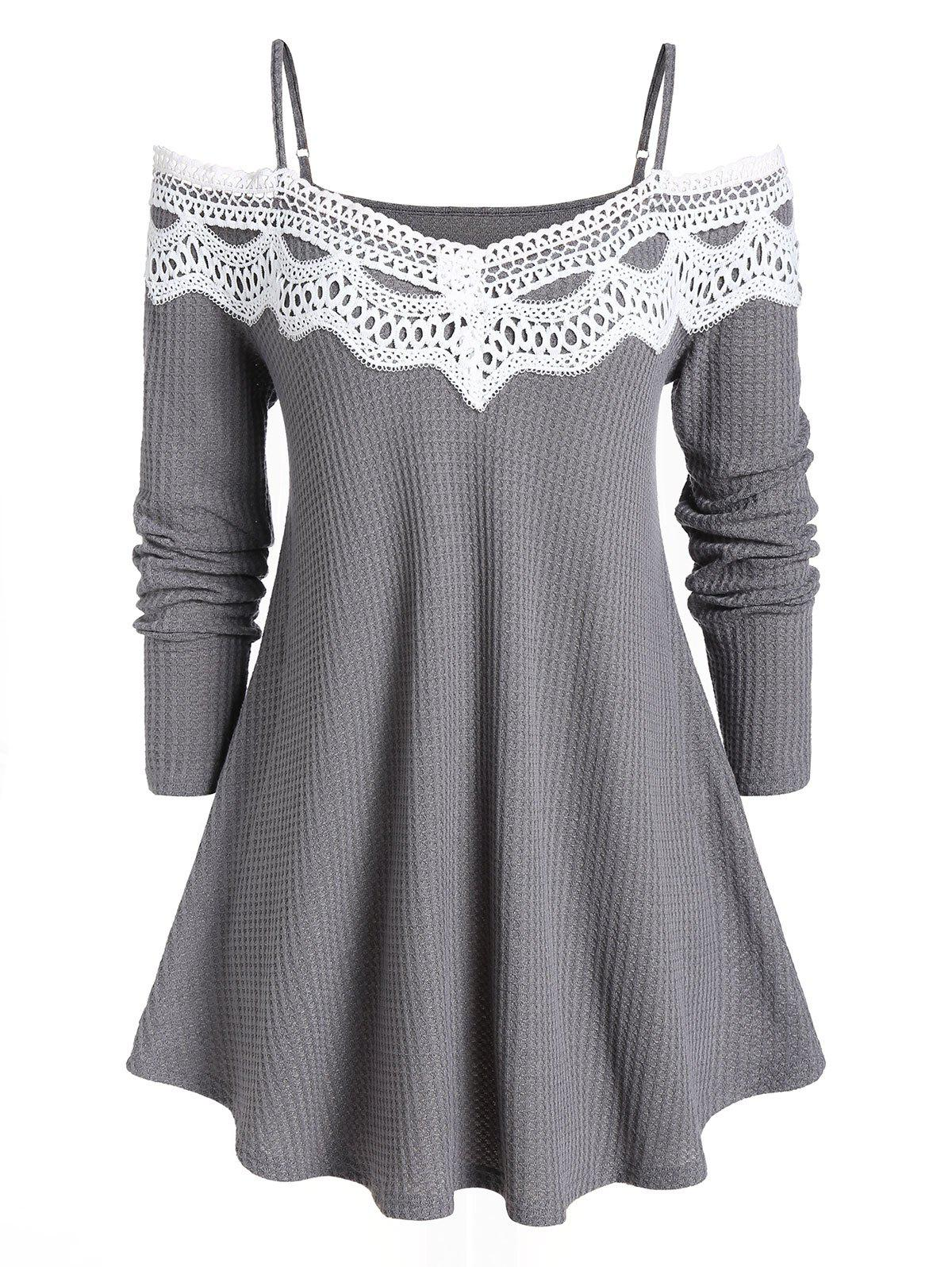 Plus Size Long Sleeves Lace Spliced Sweater - CARBON GRAY L