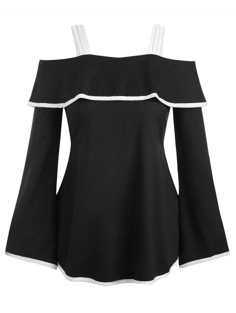 Contrast Piping Flounce Cold Shouler Tunic Top - BLACK L