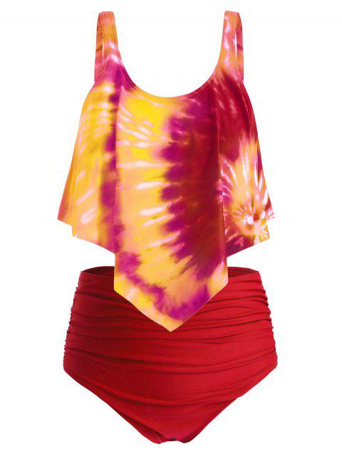 Plus Size Ruffled Tie Dye Ruched Tankini Swimsuit - multicolor D 1X