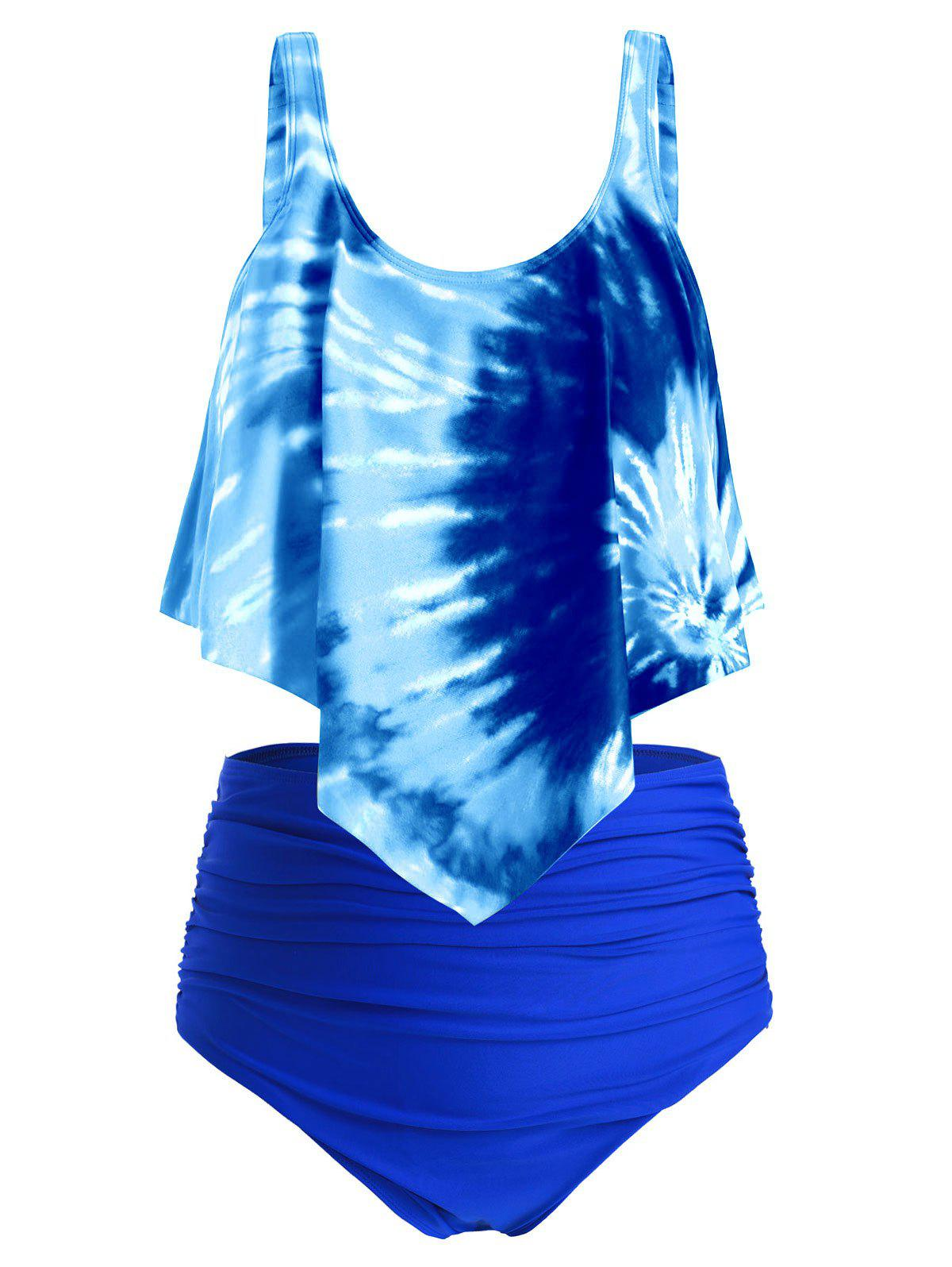 Plus Size Ruffled Tie Dye Ruched Tankini Swimsuit - multicolor G 1X