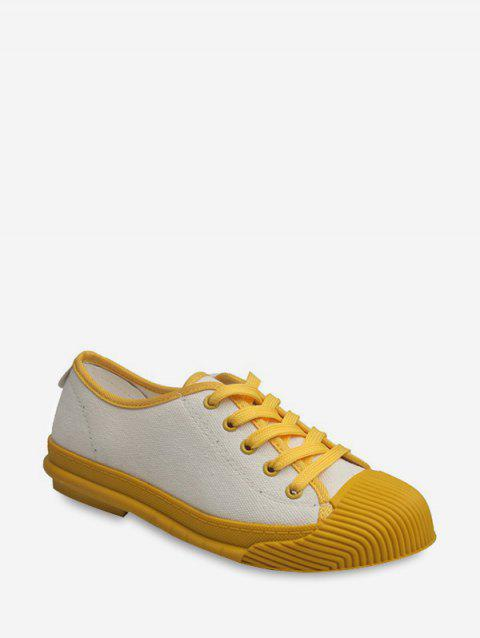 Contrast Color Lace Up Comfortable Cloth Flat Shoes - YELLOW EU 36