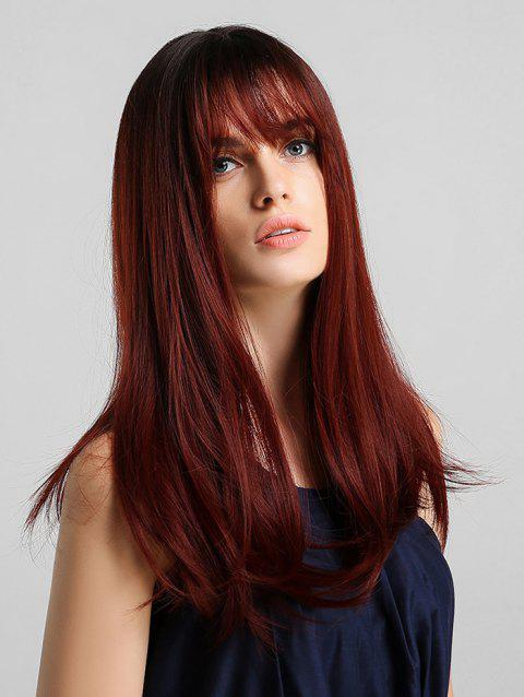 Synthetic Long Straight See-through Bang Wig - RED WINE