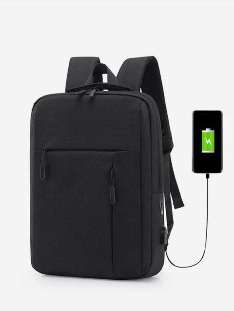 Simple USB Charging Business Backpack - BLACK