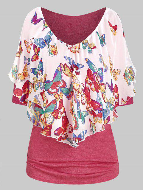 Plunge Butterfly Print Half Sleeve T Shirt - multicolor A 2XL