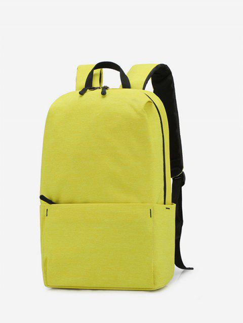 Solid Color Large Capacity Backpack - YELLOW