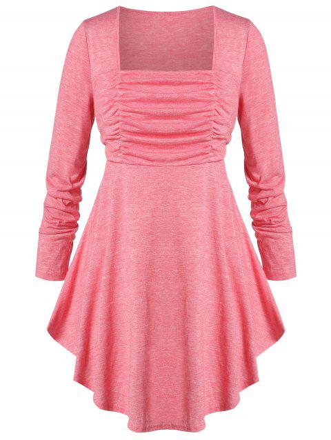 Plus Size Ruched Square Neck Curved T-shirt - PIG PINK 3X