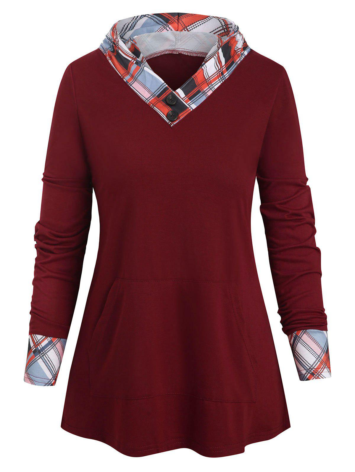 Checked Panel Front Pocket Hooded Top - RED WINE L