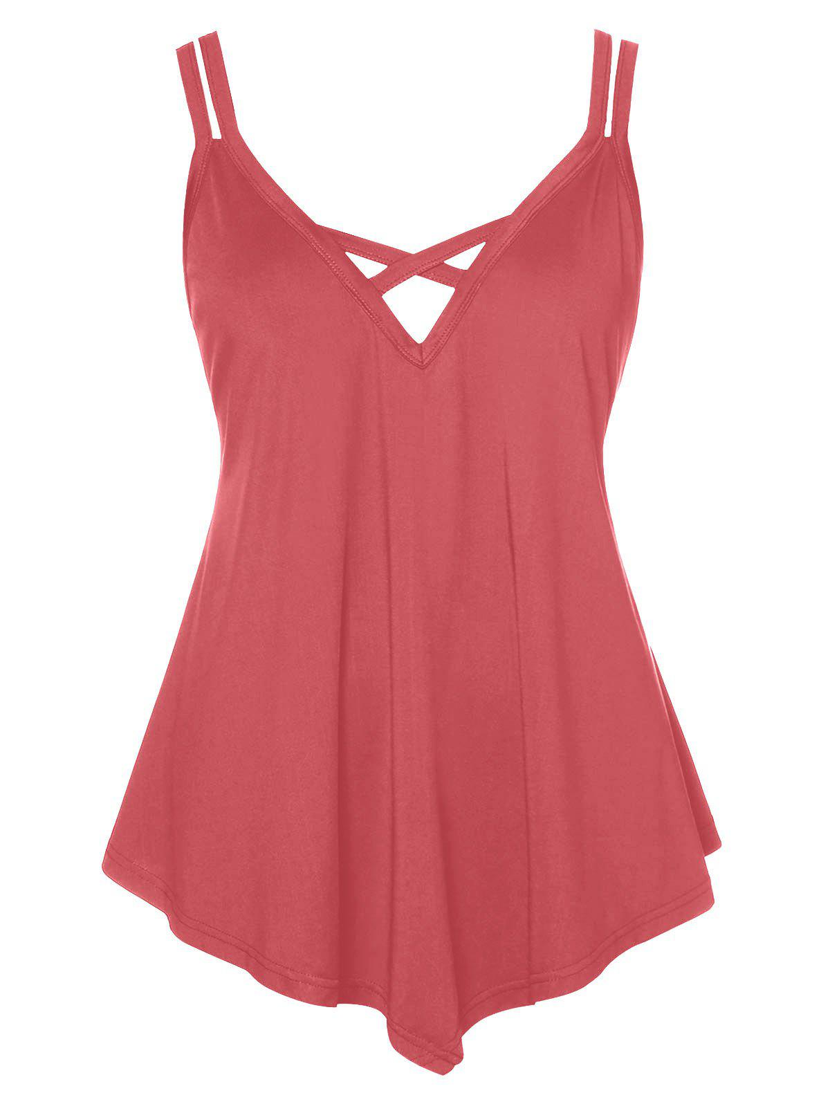 Plus Size Criss Cross Asymmetrical Cami Top - LIGHT CORAL 4X