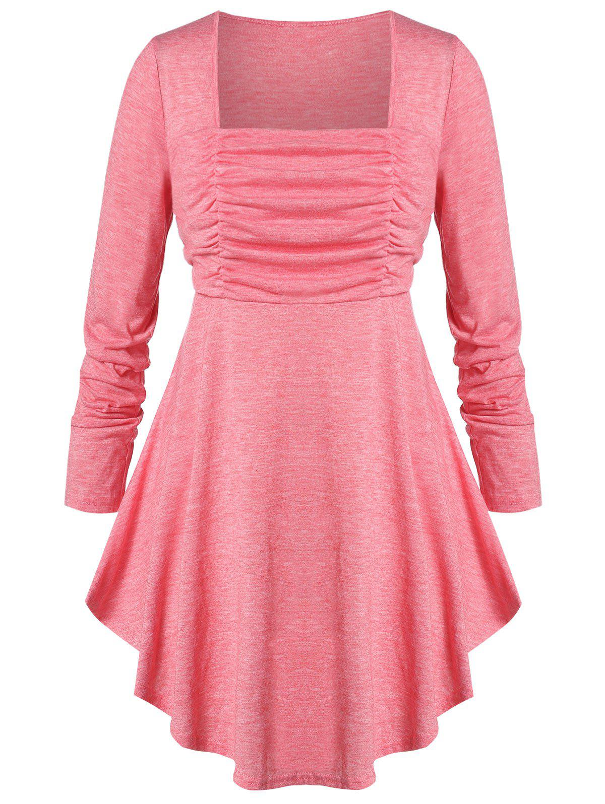 Plus Size Ruched Square Neck Curved T-shirt - PIG PINK 1X
