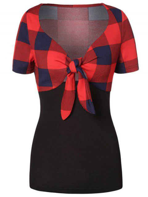 Plaid Plunging Tied T-shirt - multicolor M