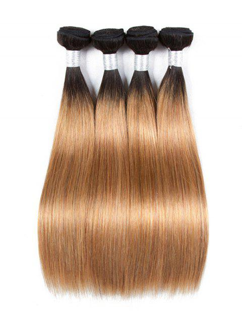 Ombre Long Straight Human Hair Weft - multicolor A 14INCH