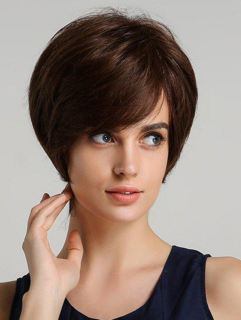 Synthetic Straight Short Side Bang Wig - BROWN