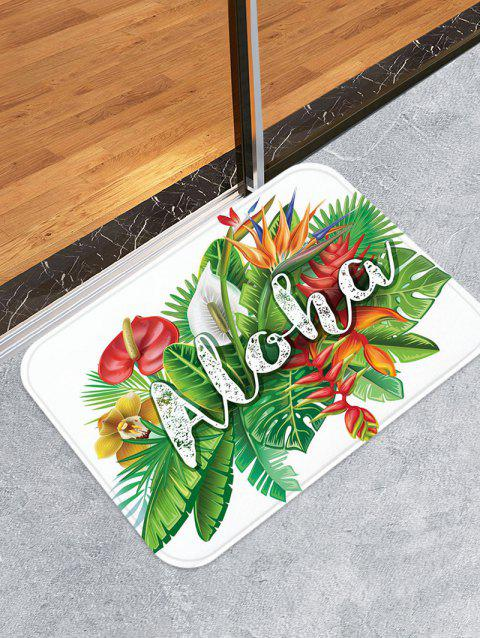 Aloha Tropical Leaf Pattern Water Absorption Area Rug - multicolor A W20 X L31.5 INCH