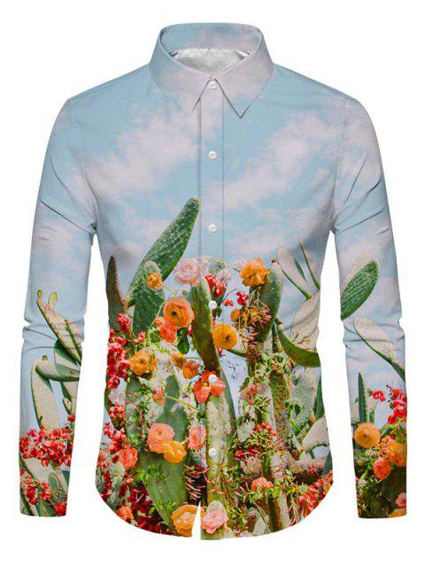 3D Cactus Floral Printed Long Sleeves Shirt - SKY BLUE 2XL