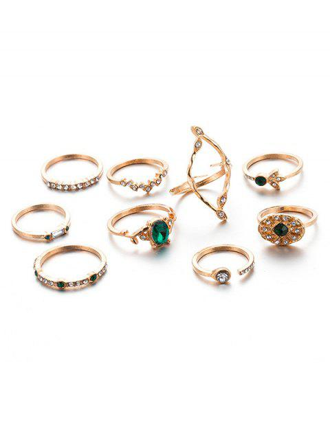 9PCS Artificial Emerald Rhinestone Rings - FERN GREEN