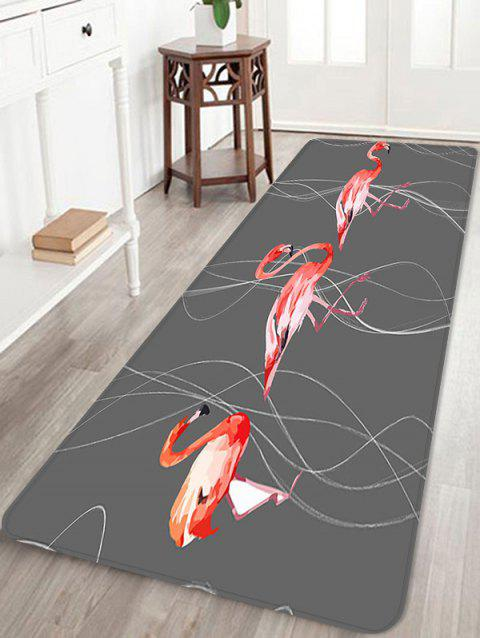 Flamingo and Curves Pattern Water Absorption Area Rug - multicolor A W24 X L71 INCH