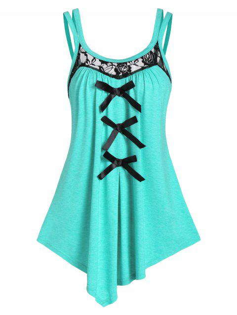 Lace Insert Bowknot Asymmetrical Tank Top - MEDIUM TURQUOISE 3XL