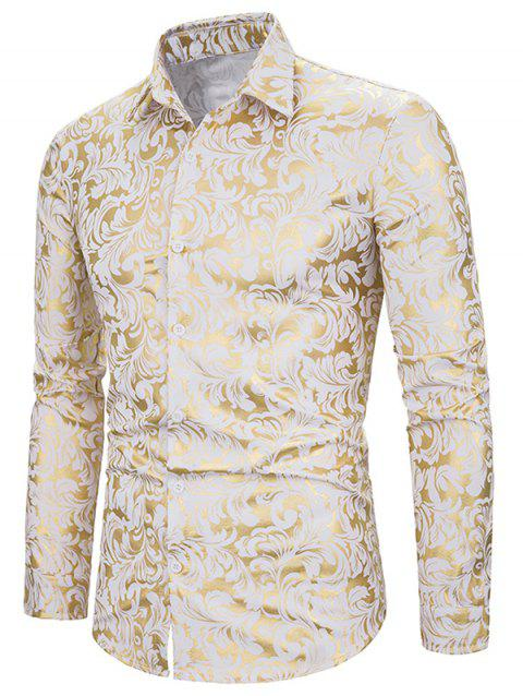 Foil Baroque Print Long Sleeve Button Up Shirt - WHITE XL