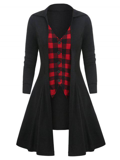 Tunic Checked Panel Button T Shirt - BLACK M