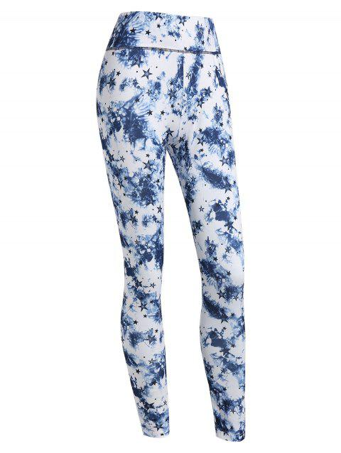 Stars and Tie Dye Print Skinny Leggings - BLUE M