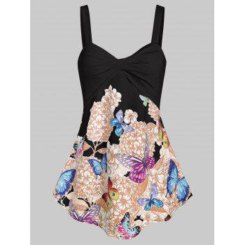 Front Twist Floral Butterfly Tank Top