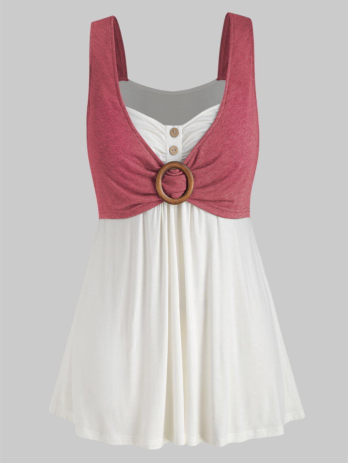 Plus Size Button Two Tone Sweetheart Neck Tank Top - CHERRY RED L