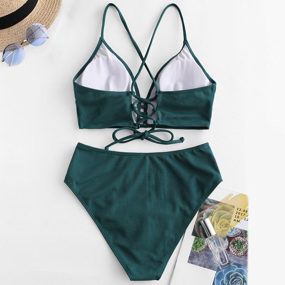 Textured Lace-up High Waisted Tankini Swimsuit