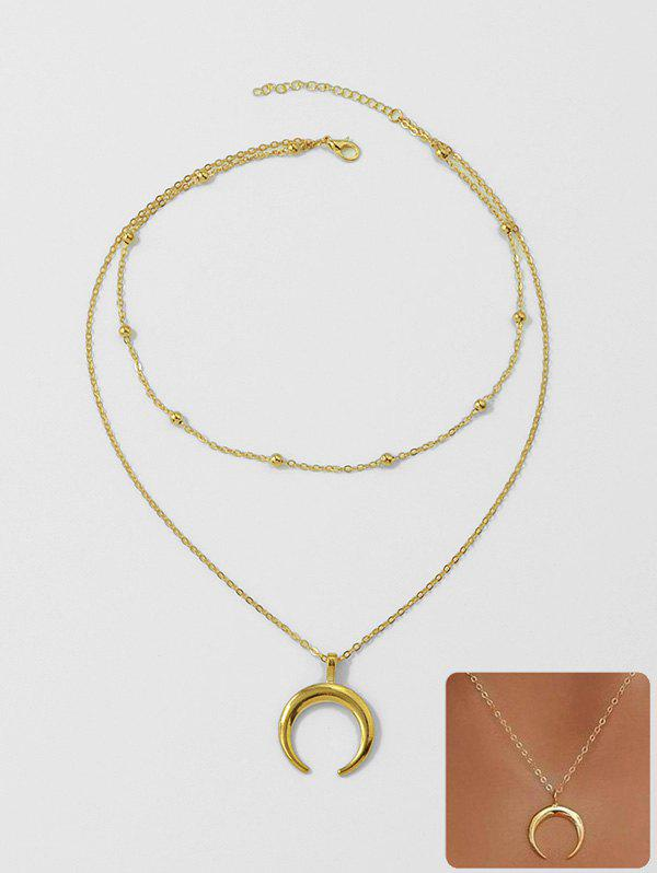 Beach Crescent Moon Pendant Chain Necklace - GOLD