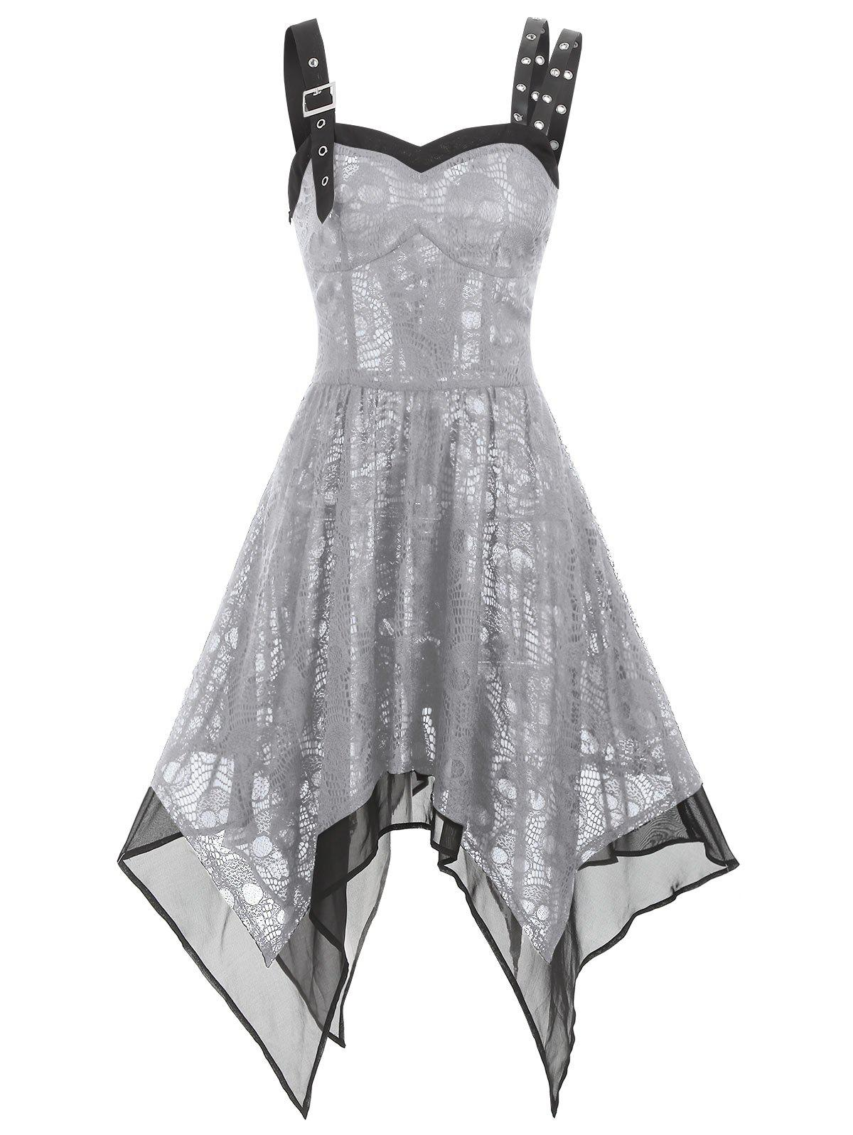 Asymmetrical Lace Buckle Grommet Strap Handkerchief Lace Up Dress - GRAY CLOUD XL