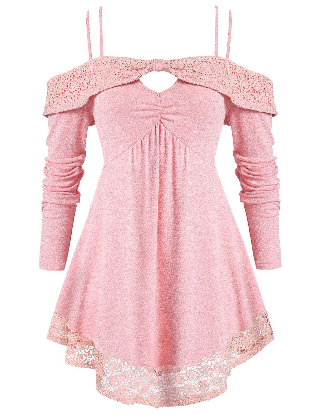 Plus Size Solid Spaghetti Strap Open Shoulder T Shirt - PINK 3X