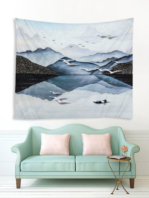 Landscape Painting 3D Print Wall Tapestry - BLUE GRAY W79 X L59 INCH