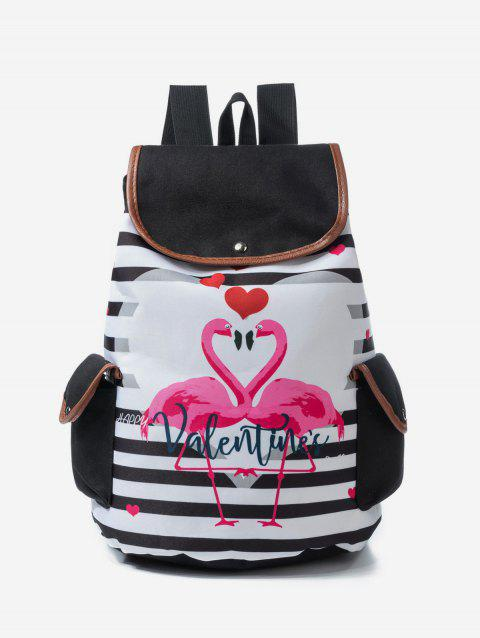 Animal Print Pattern Striped Student Backpack - WATERMELON PINK