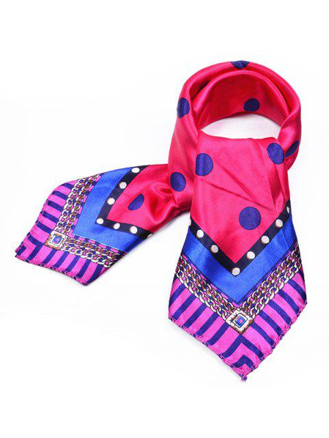 Polka Dot Geometric Scarf - ROSE RED