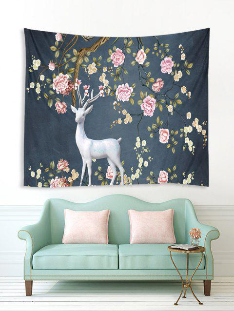 Flower Tree Elk Print Tapestry Wall Hanging Art Decoration - multicolor A W59 X L79 INCH