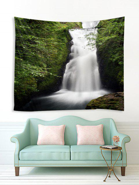 Mountain Waterfall Print Tapestry Wall Hanging Art Decor - MEDIUM FOREST GREEN W79 X L59 INCH