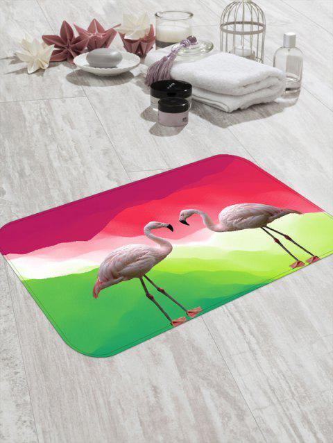 Double Flamingo Pattern Print Flannel Floor Mat - ROSE RED W20 X L31.5 INCH