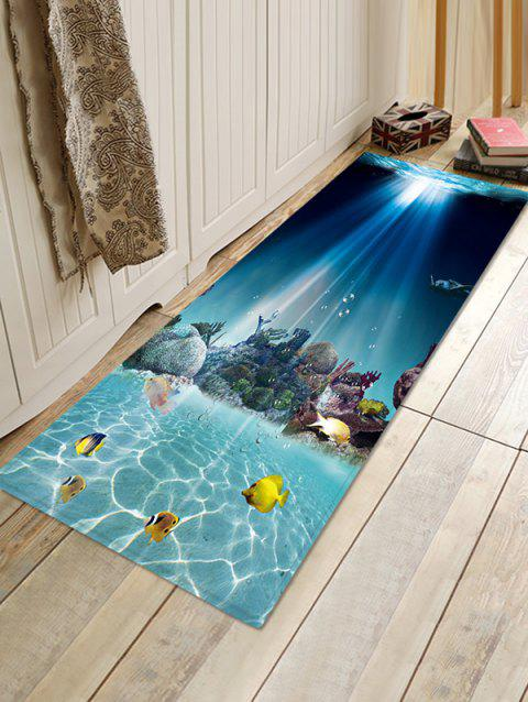 Underwater World 3D Print Floor Rug - OCEAN BLUE W16 X L47 INCH