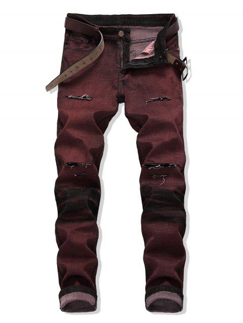 Zip Fly Ripped Decoration Cuffed Jeans - RED WINE 42