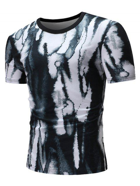 Dye Print Casual Short Sleeves T-shirt - BLACK 3XL