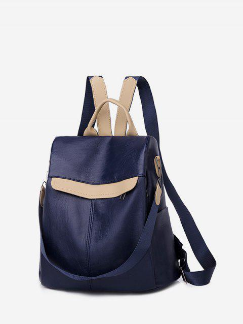 Travel Back Open Color Block PU Backpack - DEEP BLUE
