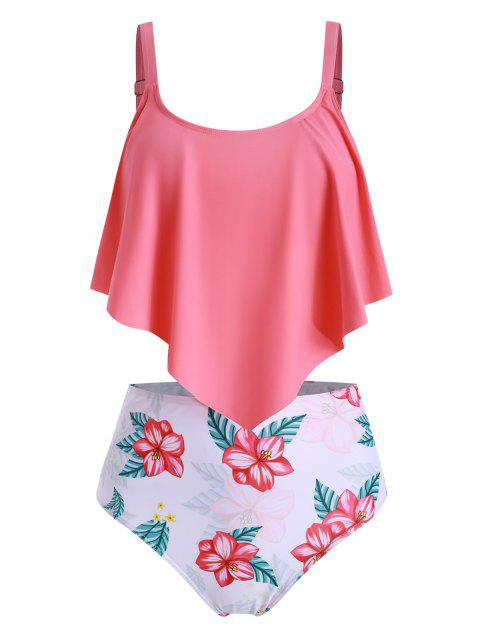Flounce High Waisted Floral Tankini Swimsuit - WATERMELON PINK L